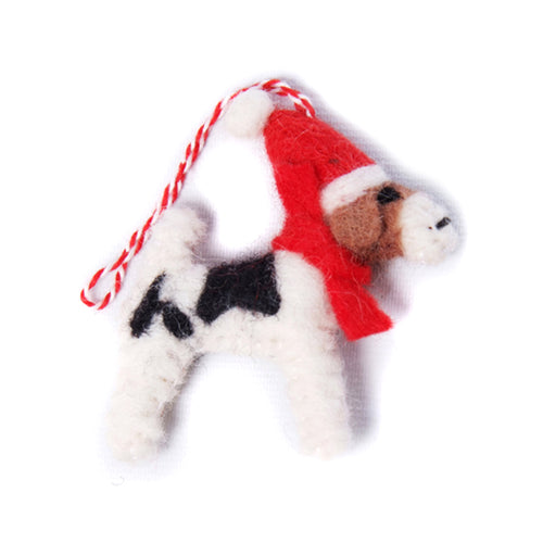Amica - 2D Fox Terrier with Hat Scarf Felt Christmas Decoration