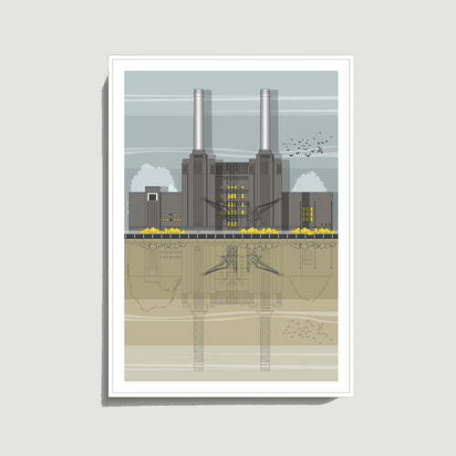 Linescapes - Battersea Power Station A3 Giclee Print