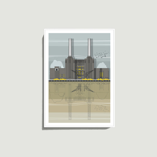 Linescapes - Battersea Power Station A4 Giclee Print
