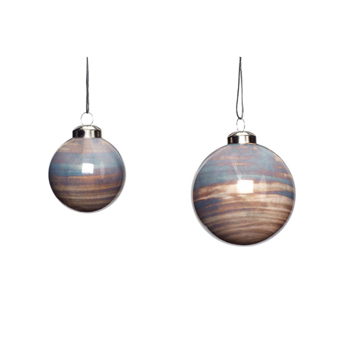 Hubsch - Christmas Glass Painted Bauble - Grey and Sand - Set of 2