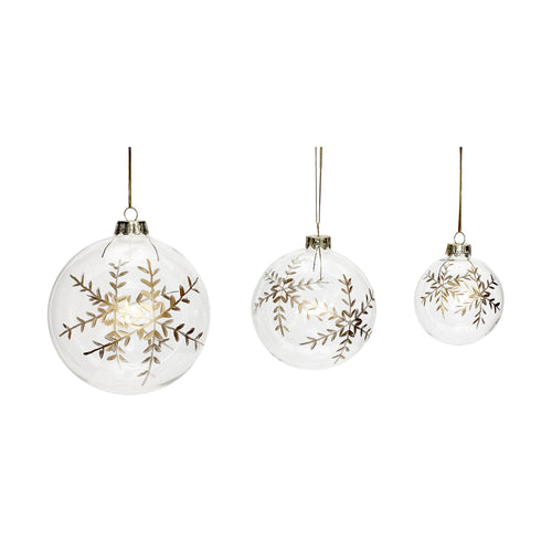Christmas bauble with snowflakes glass gold Set of 3
