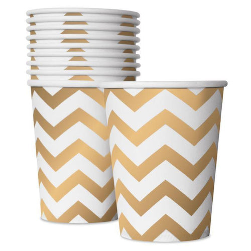 Delight Department - White and Gold Chevron Cups