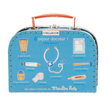 Doctors suitcase with wooden toys contents