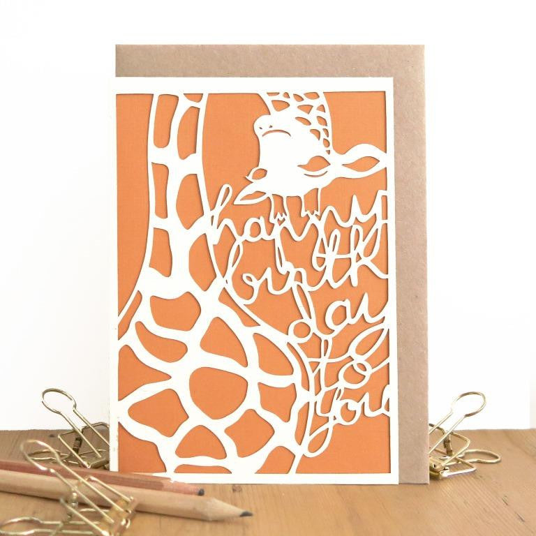 Chau Art - Giraffe says happy birthday card