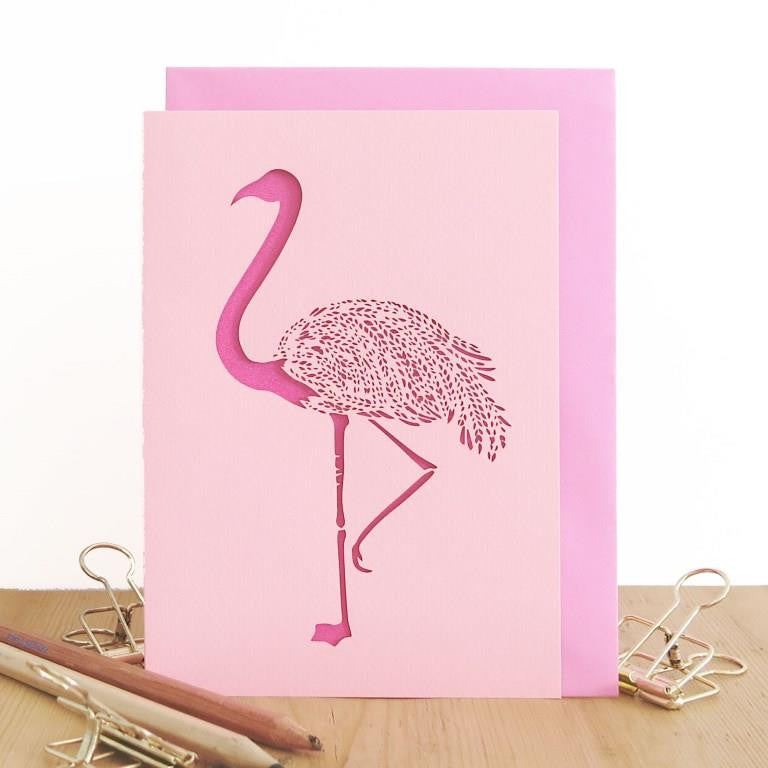 Chau Art - Elegant flamingo card