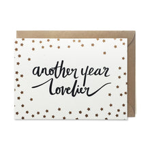 GCB5 birthday card another year lovelier gold stars letterpress handmade