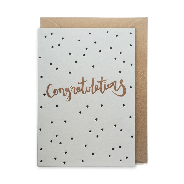 GCC1 congratulations card spotted copper grey letterpress handmade