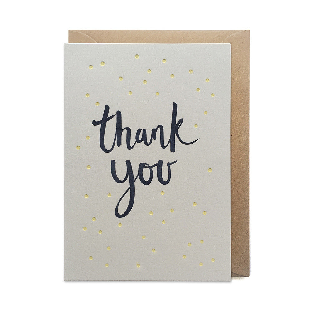 GCT1 thank you card thanks letterpress grey yellow recycled
