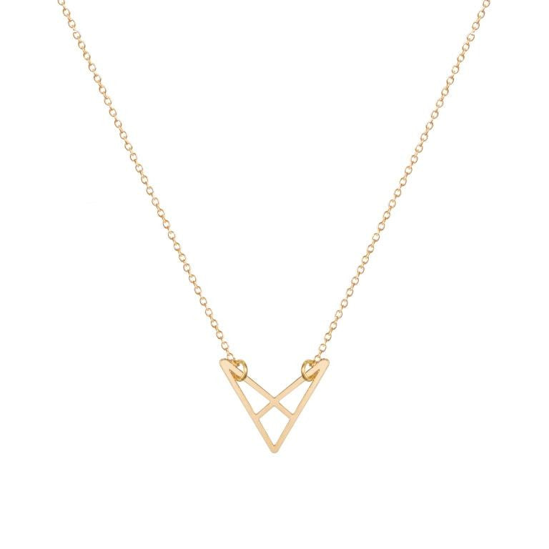 gold geometric cut out necklace v shape