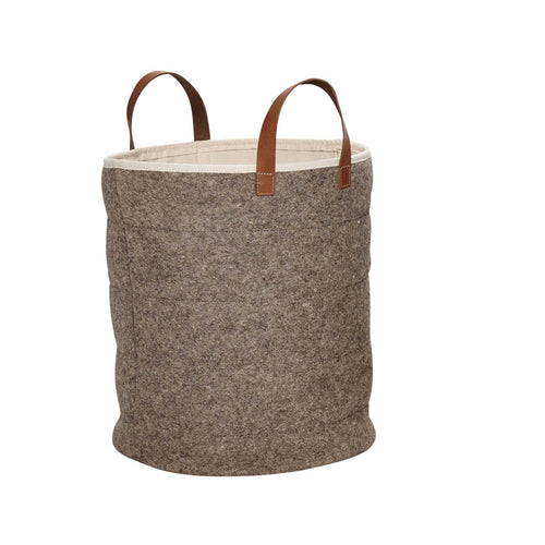 Hubsch - Basket with leather handle wool grey large