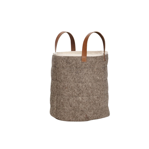 Hubsch - Basket with leather handle wool grey small