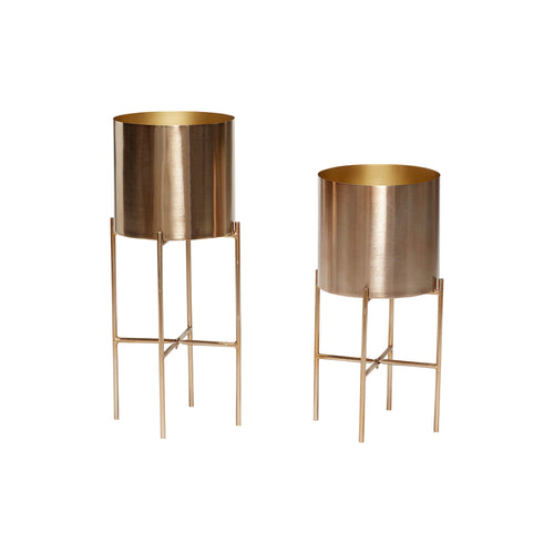 Hubsch - Brass plant pot on stand