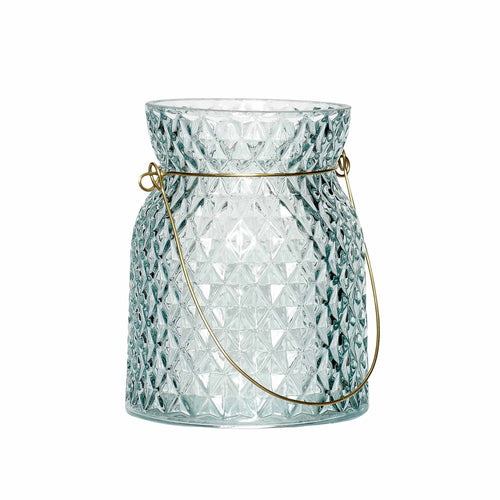 Hubsch - Diamond texture aqua glass lantern with handle