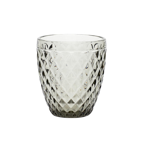 Hubsch - Grey tealight glass with diamond textured pattern