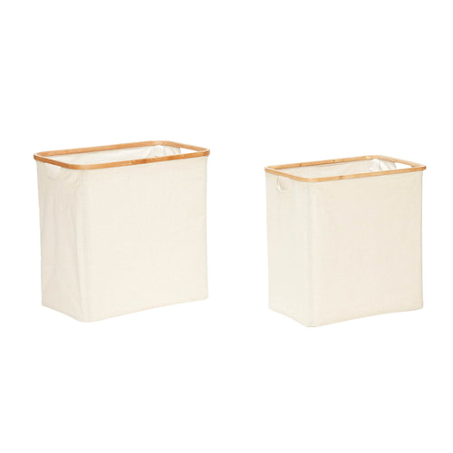 Hubsch - Laundry basket Cream Canvas with Bamboo frame - set of 2