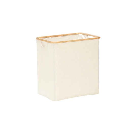 Hubsch - Laundry basket Cream Canvas with Bamboo frame - small