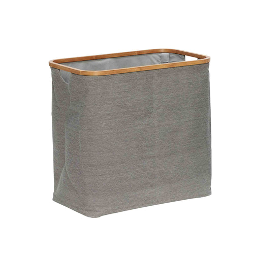 Hubsch - Laundry basket Grey Canvas with Bamboo frame - Large