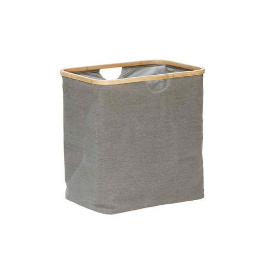 Hubsch - Laundry basket Grey Canvas with Bamboo frame - small