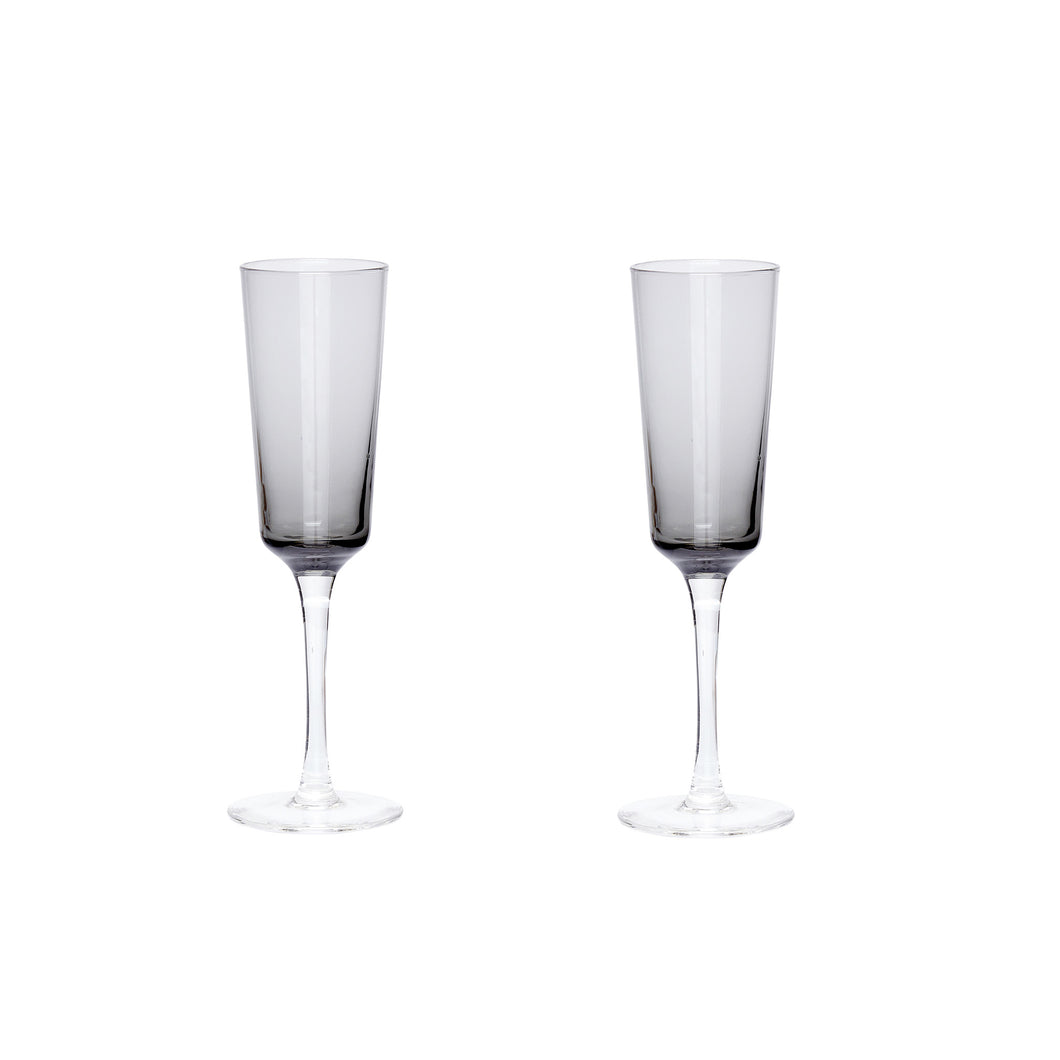 Hubsch - Pair of grey tinted champagne flutes
