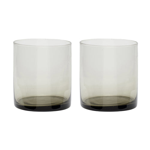 Hubsch - Pair of smoke tinted tumblers