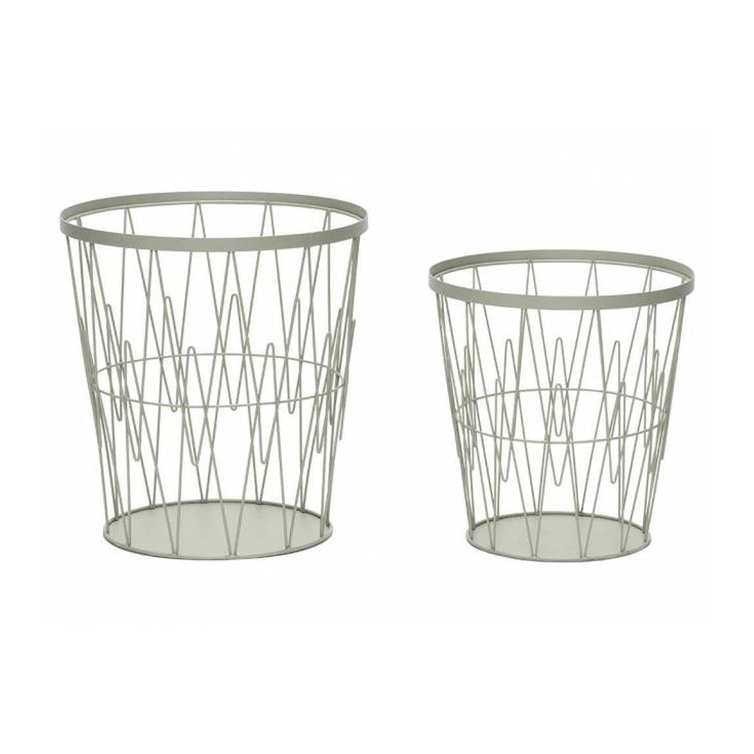 Hubsch - Pale Green Wire Paper Basket