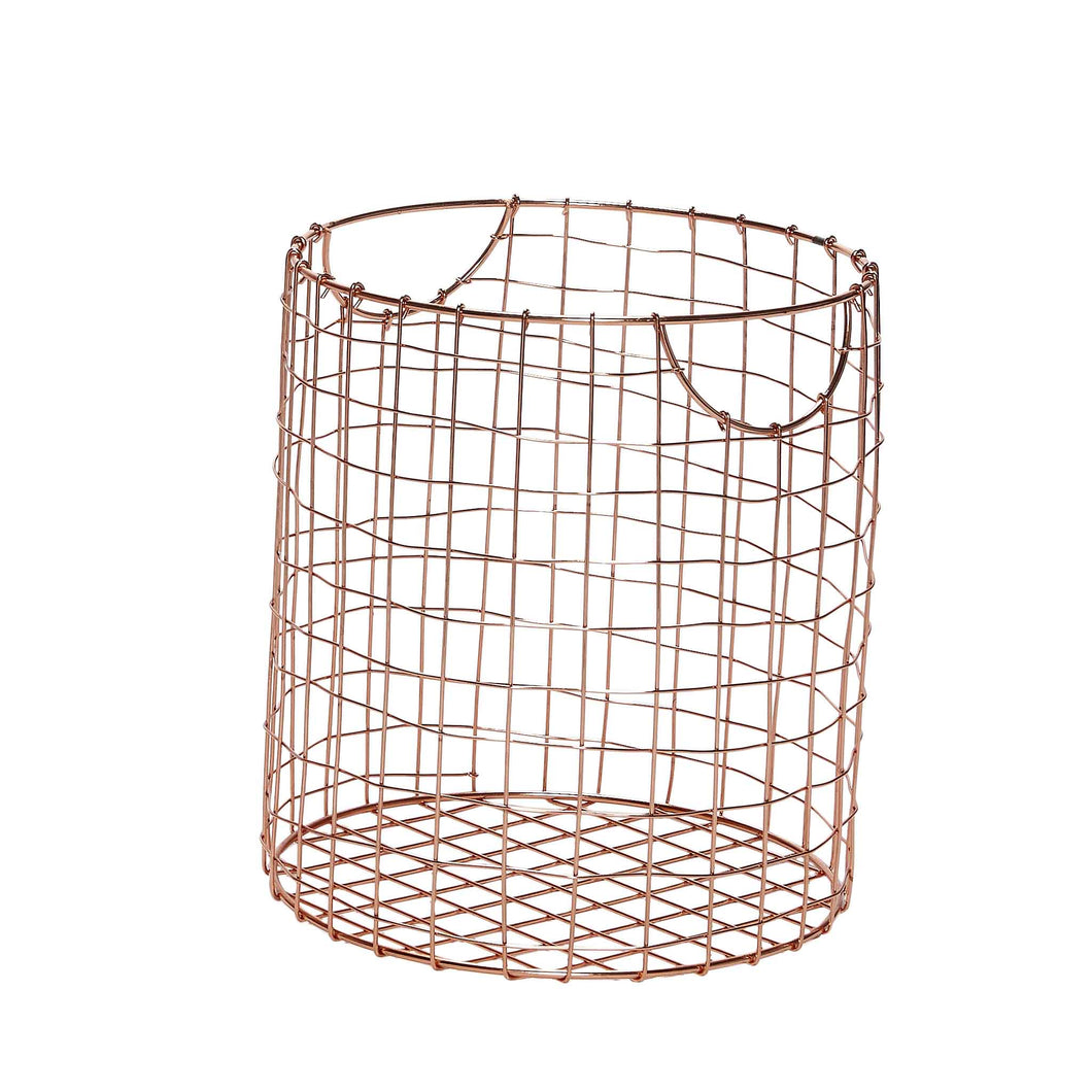 Hubsch - Round Copper Wire Basket - small