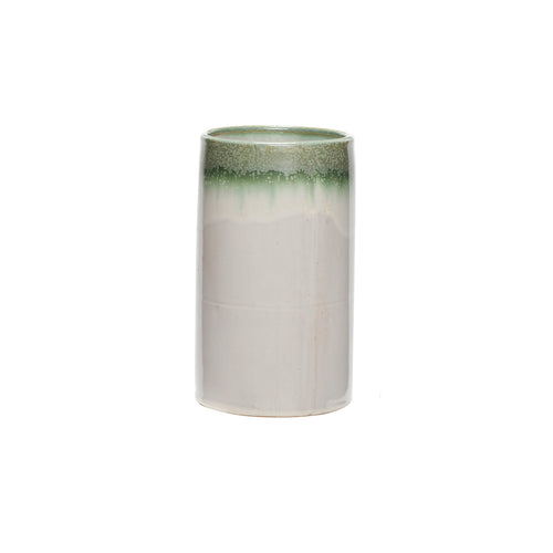 Hubsch - Two Tone Green and white Cylinder Vase - large