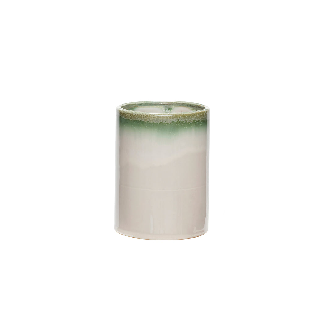 Hubsch - Two Tone Green and white Cylinder Vase - medium