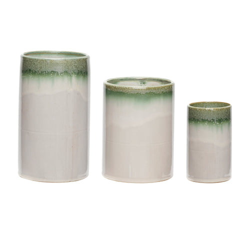 Hubsch - Two Tone Green and white Cylinder Vase - set of 3