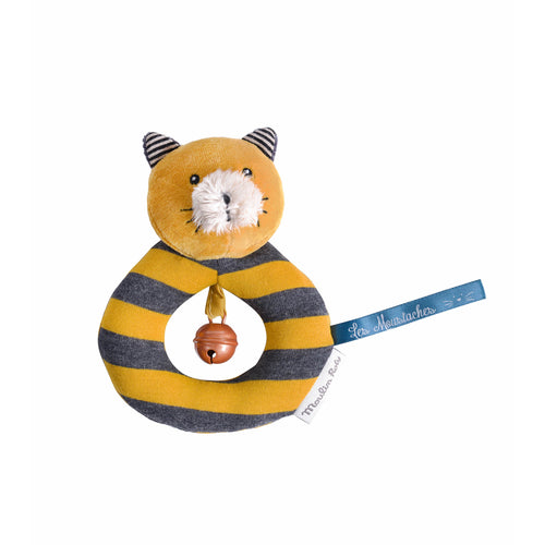 Moulin Roty - Les Moustaches - Yellow cat ring rattle