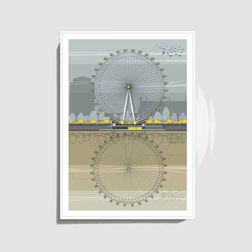 Linescapes - London Eye A3 Giclee Print