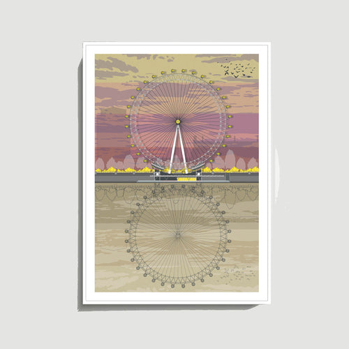 Linescapes - London Eye Sunset A3 Giclee Print