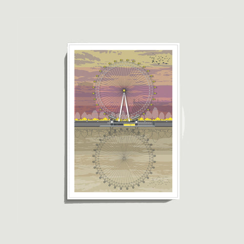 Linescapes - London Eye Sunset A4 Giclee Print