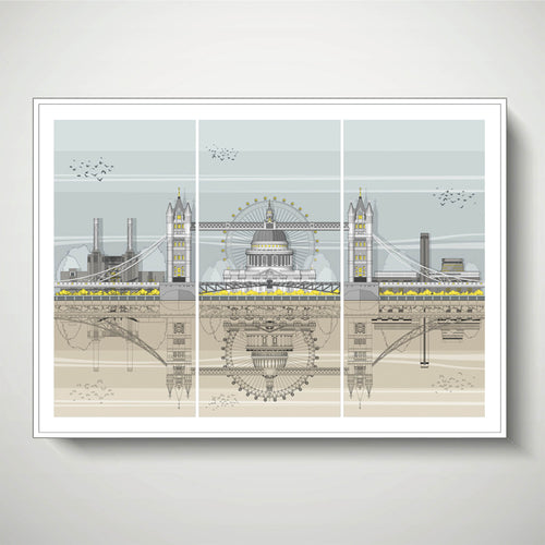 Linescapes - London Triptych A2 Giclee Print