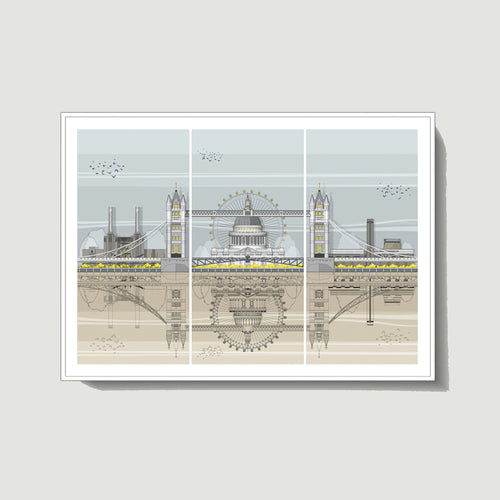 Linescapes - London Triptych A3 Giclee Print