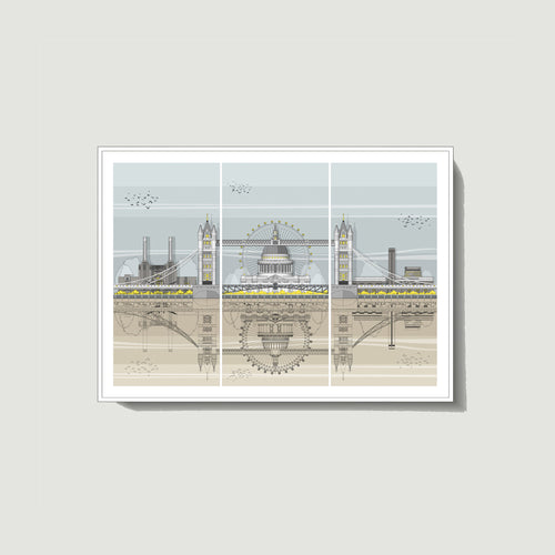 Linescapes - London Triptych A4 Giclee Print