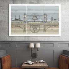 London Landmarks Tripych Print framed