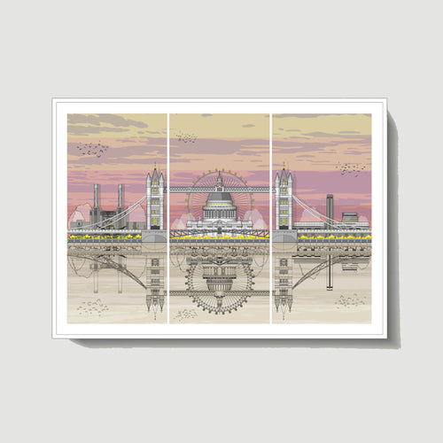 Linescapes - London Triptych Sunset A3 Giclee Print