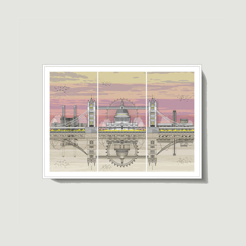 Linescapes - London Triptych Sunset A4 Giclee Print