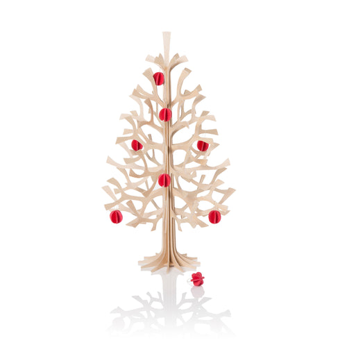 Lovi - Spruce - Natural Wood - 30cm with 8 Red Minibaubles