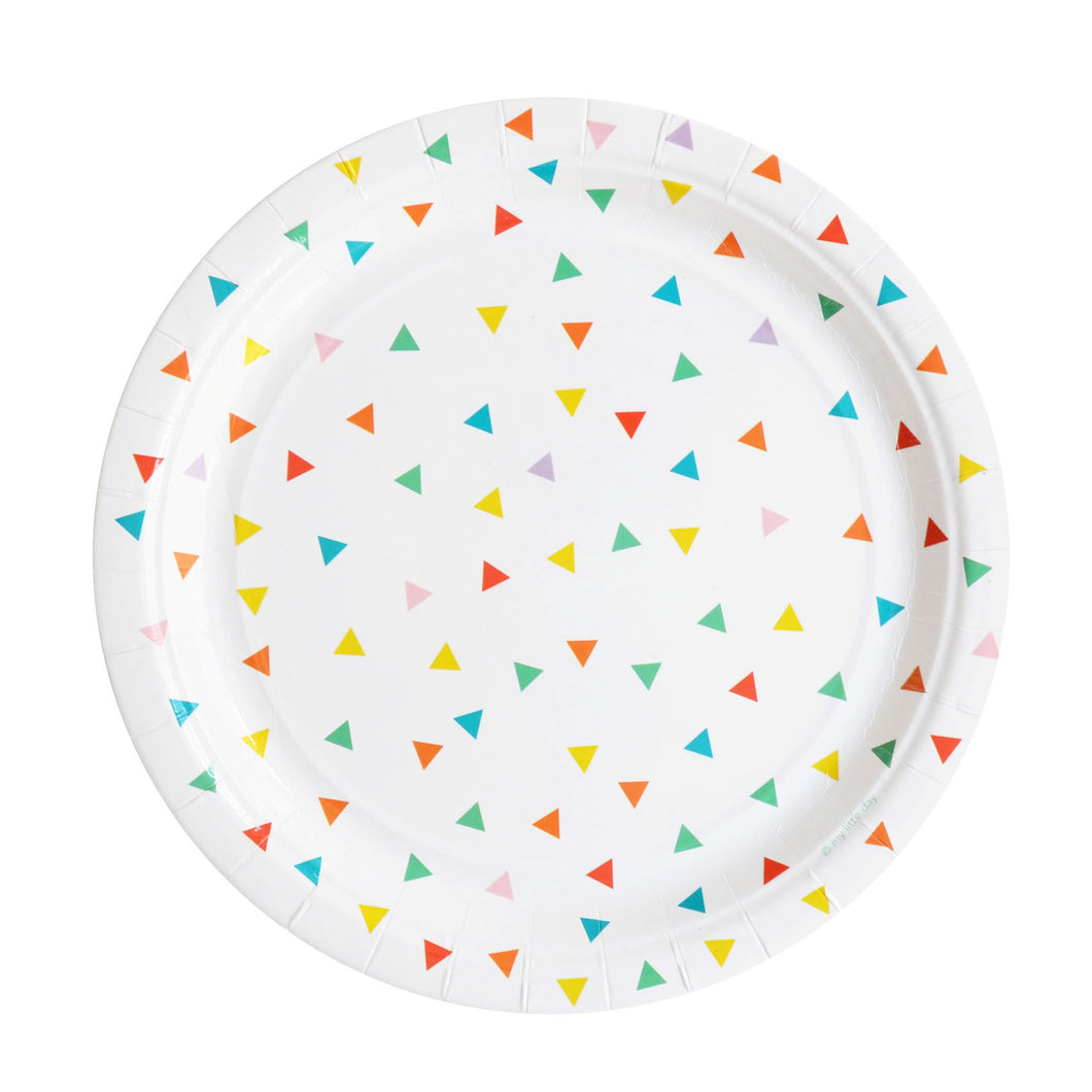 My Little Day - Multicolour triangle paper plates pack 8 - 23cm