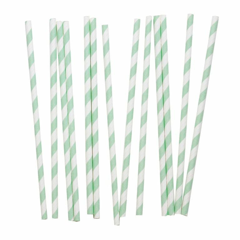 My Little Day - Aqua and White paper straws pack 25