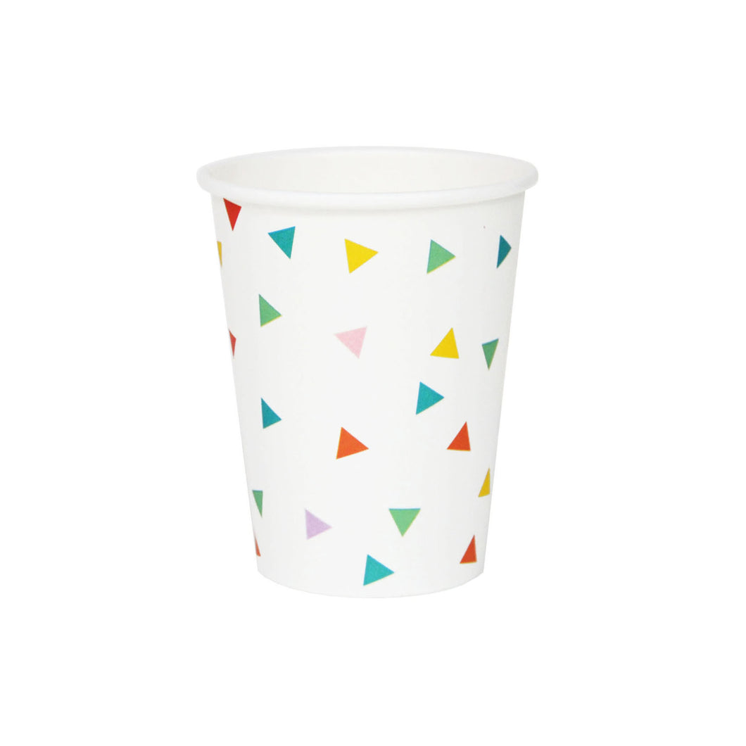 My Little Day - Multicolour triangle paper cups pack 8 - 265ml