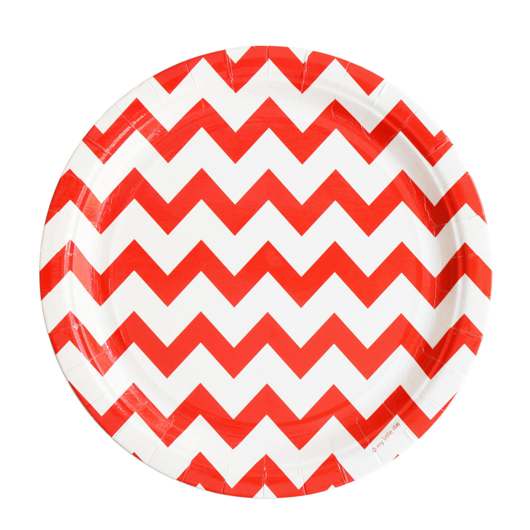 My Little Day - Red Chevron paper plates pack 8 - 23cm
