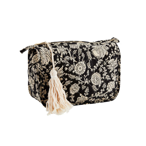 Madam Stoltz - Printed Cotton Toiletry Bag - Black Cream