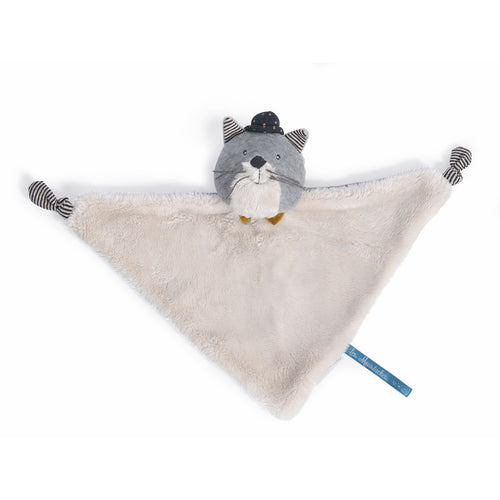 Moulin Roty - Les Moustaches - Fernand, light grey cat comforter