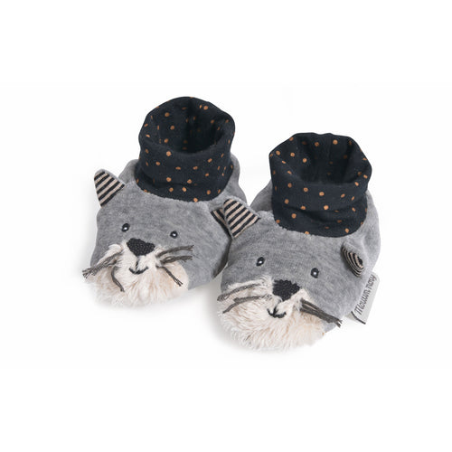 Moulin Roty - Les Moustaches - Fernand light grey slippers