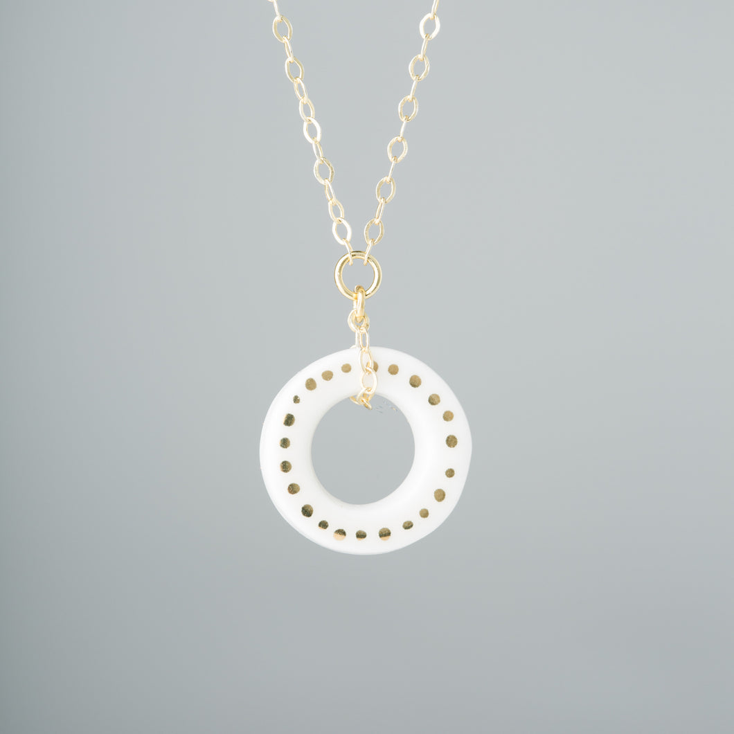 One & Eight - Porcelain Gold Dot Hoop Necklace