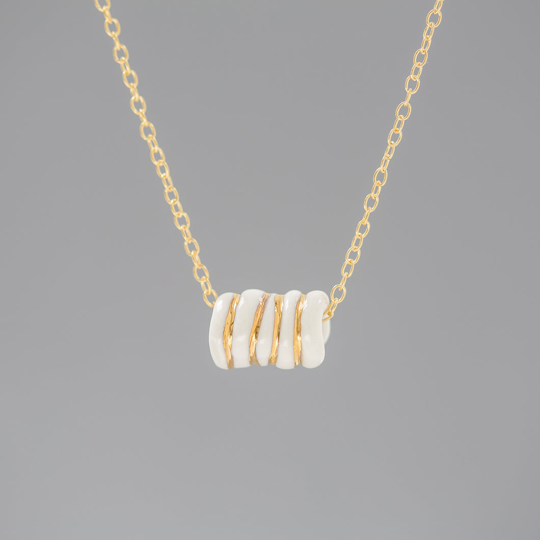 One & Eight - Porcelain Gold and White Old Rope Necklace