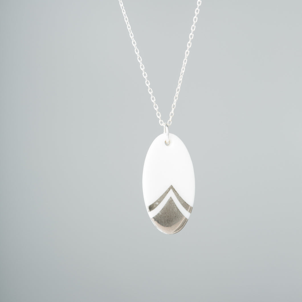One & Eight - Silver Porcelain Feather Necklace